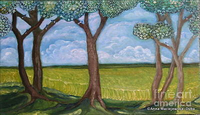 Polscy Malarze Painting - Open Fields by Anna Folkartanna Maciejewska-Dyba
