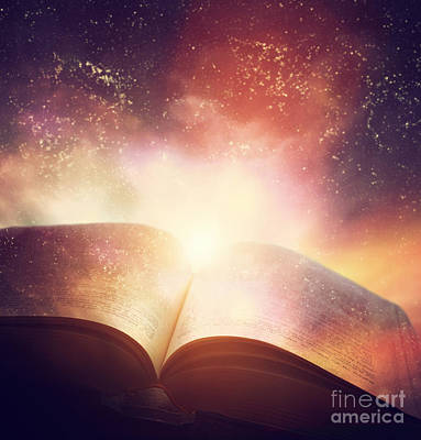 Wisdom Photograph - Open Old Book Merged With Magic Galaxy Sky by Michal Bednarek