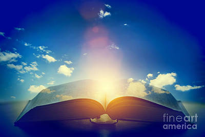 Fantasy Photograph - Open Old Book With Light From The Sky by Michal Bednarek
