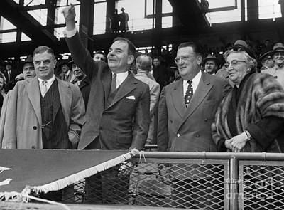 Ebbets Field Photograph - Opening Ceremonies At Dodger Pittsburgh Game At Ebbets Field by Barney Stein