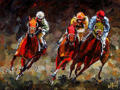 Horse Art Painting - Opening Day by Debra Hurd