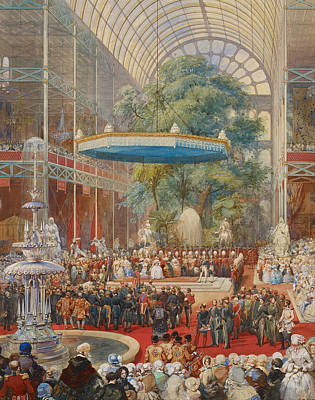 Eugene-louis Lami Drawing - Opening Of The Great Exhibition 1 May 1851 by Eugene-Louis Lami