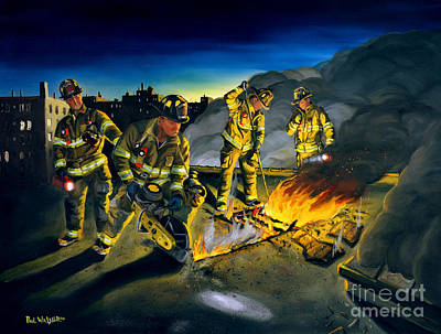 Firefighter Painting - Opening Up by Paul Walsh