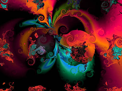 Contemporary Abstract Digital Art - Opposit Parties by Claude McCoy
