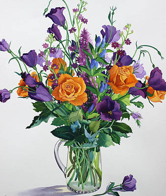 Water And Plants Painting - Orange And Purple Flowers by Christopher Ryland