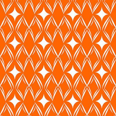 Orange And White Diamonds Print by Linda Woods