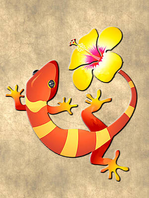 Gecko Painting - Orange And Yellow Jungle Lizard With Yellow Hibiscus/background by Elaine Plesser