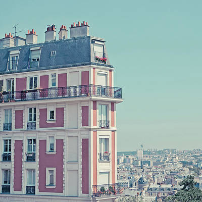 Orange Apartment Building With View Over Paris Print by Cindy Prins