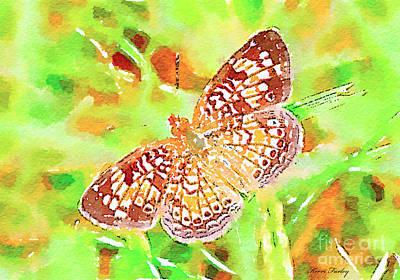 Digital Watercolor Photograph - Orange Butterfly - Digital Watercolor by Kerri Farley