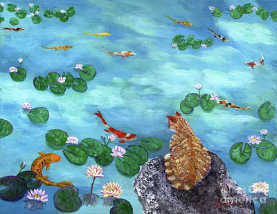 Pond Painting - Orange Cat At Koi Pond by Laura Iverson