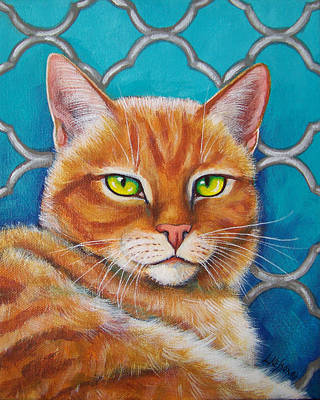 Domestic Short Hair Cat Painting - Orange Cat On Turquoise Quatrefoil by Lisa Nelson