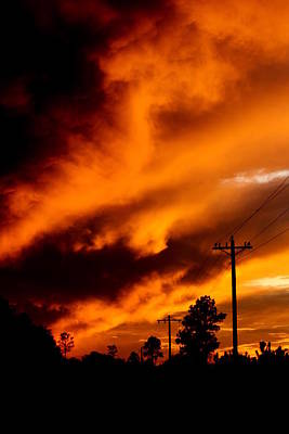 Orange Clouds At Sunset Print by Dana  Oliver