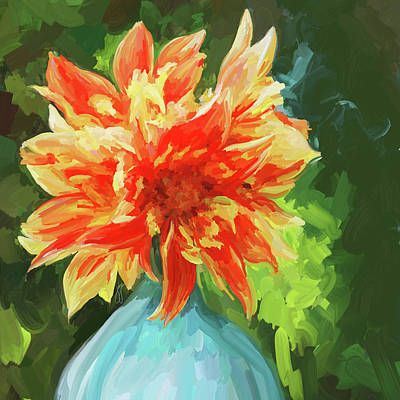 Orange Dahlia - Square Print by Jai Johnson