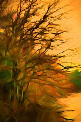 Plein Air Digital Art - Orange Fall Sky by Lilia D