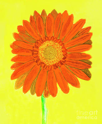 Gerbera Painting - Orange Gerbera On Yellow, Watercolor by Irina Afonskaya