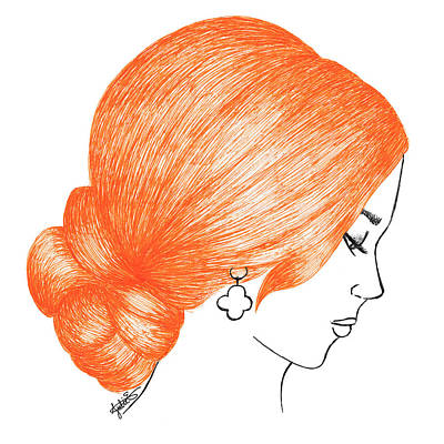 Orange Hair Print by Julie Erin Designs