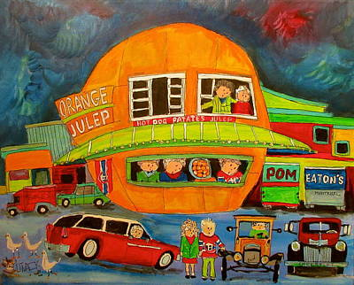 Litvack Painting - Orange Julep And Model T by Michael Litvack