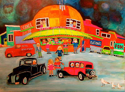 Orange Julep Painting - Orange Julep Decarie by Michael Litvack