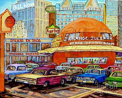 Orange Julep Painting - Orange Julep Painting Decarie Blvd Skyline Ruby Foo's Bill Wong's Montreal Memories 60's Cars  by Carole Spandau