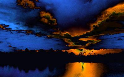 Huisken Digital Art - Orange On Blue by Lyle  Huisken
