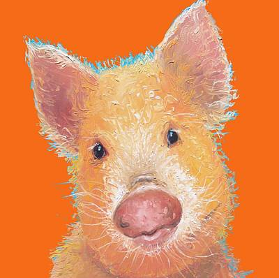 Piglet Painting - Pig Painting On Orange Background by Jan Matson
