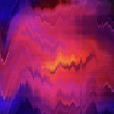 Orange Purple Blurred Abstract Background Texture With Horizontal Stripes. Glitches, Distortion On The Screen Broadcast Digital Tv Satellite Channels Print by Oksana Ariksina