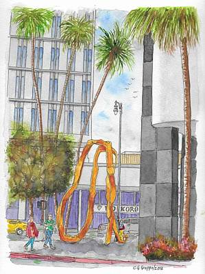 Beverly Hills Painting - Orange Sculpture In Wilshire Blvd. And Beverly Dr. In Beverly Hills, California by Carlos G Groppa