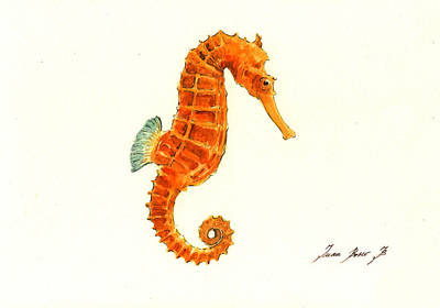 Orange Seahorse Print by Juan Bosco