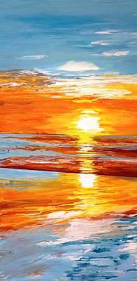 Orange Sunset Over The Ocean Print by Ivy Stevens-Gupta