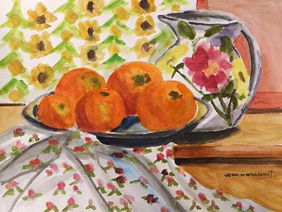 Simplicity Drawing - Oranges And Flowers by John Williams