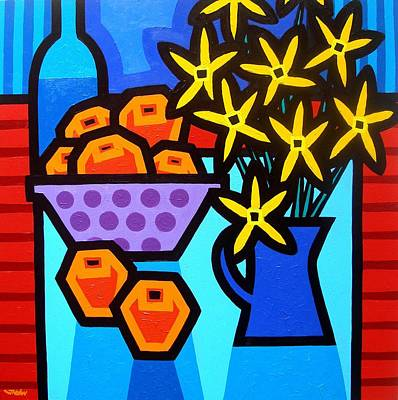 Oranges Flowers And Bottle Print by John  Nolan