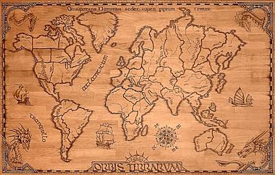 Pyrography Drawing - Orbis Terrarum by Eric Anderson