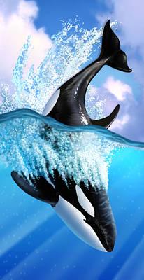 Whale Digital Art - Orca 2 by Jerry LoFaro