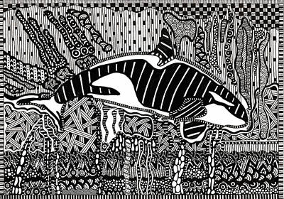 Orca Drawing - Orca Tangle by Molly Williams