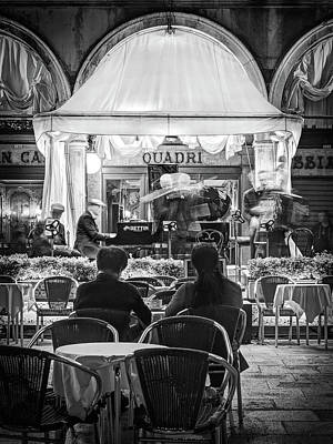 Quadri Photograph - Orchestra On St Mark's Square At Night - Venice by Barry O Carroll