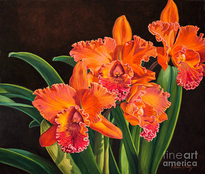 Cattleya Painting - Orchid Fever 4 Volcano Queen 1 by Fiona Craig