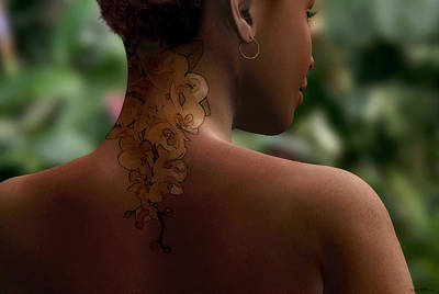 Freckles Digital Art - Orchid Tattoo by Cynthia Decker