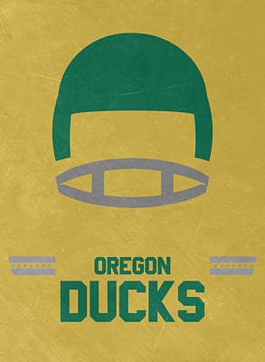 Ducks Mixed Media - Oregon Ducks Vintage Football Art by Joe Hamilton