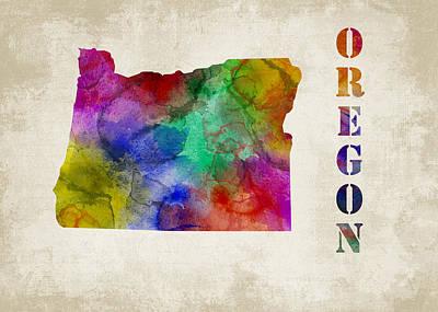 States Digital Art - Oregon by Mihaela Pater