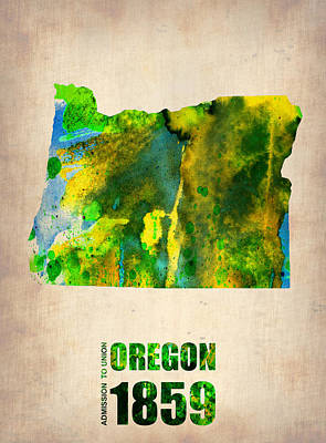 Oregon State Painting - Oregon Watercolor Map by Naxart Studio