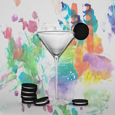 Oreo Happy Hour Watercolor Bg Print by Bill Cannon