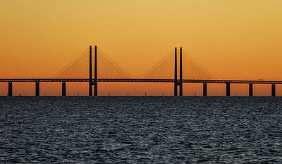 Malmo Photograph - Oresund Bridge At Sunset by Teresita Garit