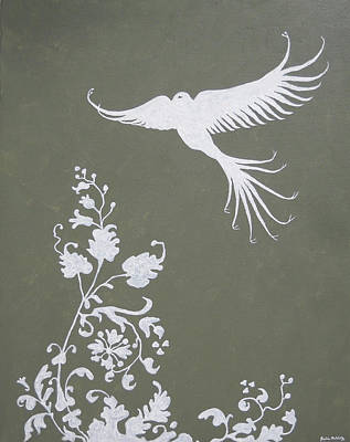 Leaf Stencil Painting - Organic Angel by Julia Raddatz