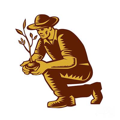 Organic Farmer Planting Tree Woodcut Linocut Print by Aloysius Patrimonio