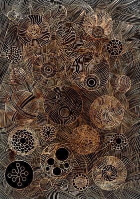 Linocut Painting - Organic Forms by Frank Tschakert