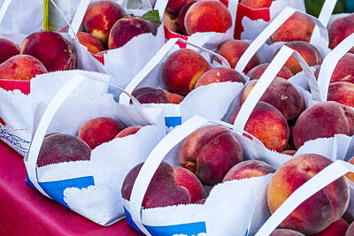 Locally Grown Photograph - Organic Peaches At The Market by Teri Virbickis