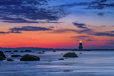 Orient Point Lighthouse At Dawn Print by Rick Berk