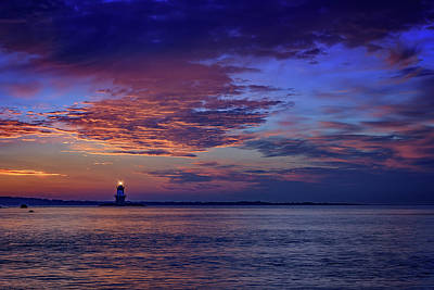 Orient Point Lighthouse At Sunrise Print by Rick Berk