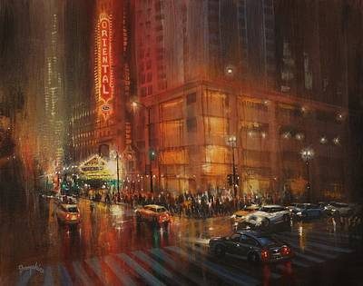 Rainy Night Painting - Oriental Theater Chicago by Tom Shropshire