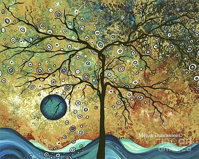 Tree Painting - Original Abstract Landscape Painting Metallic Gold Paint The Golden Forest By Megan Duncanson by Megan Duncanson